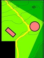 Atribución de usos de los edificios del faro de Bleda Plana